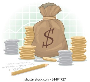 Dollar Money Bag with coins on diagram background