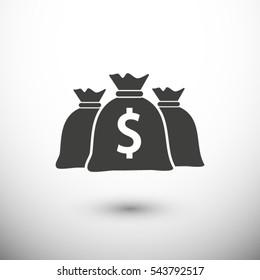 dollar money bag icon. One of set web icons