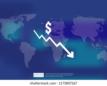dollar money fall down symbol with world map and blur background. arrow decrease economy stretching rising drop. Business loss crisis decrease illustration. cost reduction bankrupt vector.