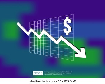 dollar money fall down symbol with blur background. arrow decrease economy stretching rising drop. Business loss crisis decrease illustration. cost reduction bankrupt vector.