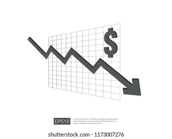 dollar money fall down symbol with white background. arrow decrease economy stretching rising drop. Business loss crisis decrease illustration. cost reduction bankrupt vector.