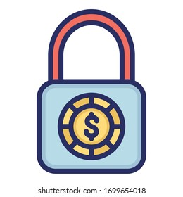Dollar, money, security, locker fully editable vector icon