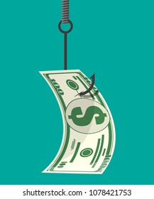 Dollar on fishing hook. Money trap concept. Hidden wages, salaries black payments, tax evasion, bribe. Anti corruption. Vector illustration in flat style