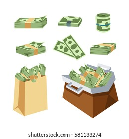 Dollar paper business finance money stack in bag of bundles us banking edition and banknotes bills isolated wealth sign investment currency vector illustration.