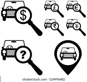 Dollar, Pound, Euro, Rupee, Yen money sign with magnifying glass on a car. Car search, car selling, car deal  vector icon.  Map location search for a car deal icon.