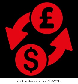 Dollar Pound Exchange icon. Vector style is flat iconic symbol with rounded angles, red color, black background.