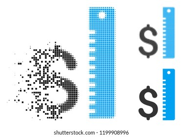 Dollar rate icon in disappearing, dotted halftone and undamaged entire versions. Particles are grouped into vector disappearing dollar rate icon. Disappearing effect uses square particles.