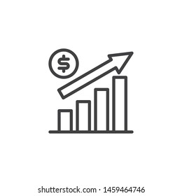 Dollar Rate Increase line icon. linear style sign for mobile concept and web design. Growth rate outline vector icon. Financial success symbol, logo illustration. Vector graphics