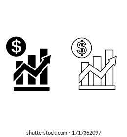 Dollar Rate Increase vector icon. Financial success illustration symbol. Growth rate sign.