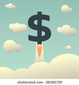 Dollar rising as a rocket. Increase of dollar value on international financial markets symbol in vintage style. Eps10 vector illustration