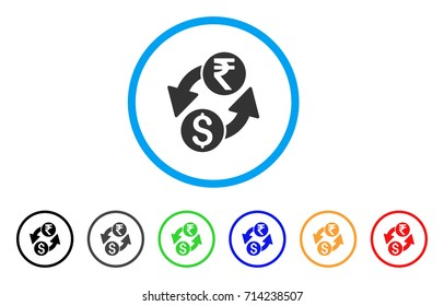 Dollar Rupee Exchange icon. Vector illustration style is a flat iconic dollar rupee exchange grey rounded symbol inside light blue circle with black, gray, green, blue, red, orange color variants.