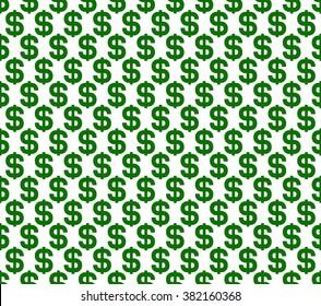 Dollar Seamless Pattern Background. Vector