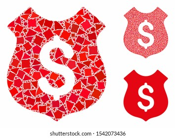 Dollar shield mosaic of joggly parts in different sizes and color tinges, based on dollar shield icon. Vector irregular parts are composed into composition.