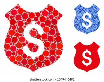 Dollar shield mosaic of round dots in variable sizes and color tones, based on dollar shield icon. Vector round dots are united into blue mosaic. Dotted dollar shield icon in usual and blue versions.