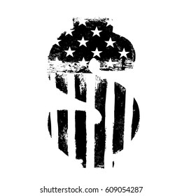 Black on white vector isolated symbol. American flag shaped silhouette.  Grunge 00026ccaf30f