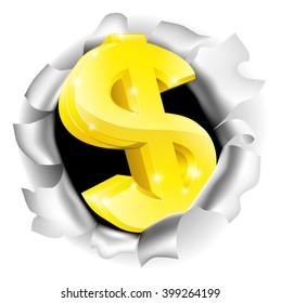 A dollar sign bursting through the background