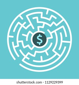 Dollar sign in center of circular maze on turquoise blue background. Money, wealth and business concept. Flat design. Vector illustration, no transparency, no gradients