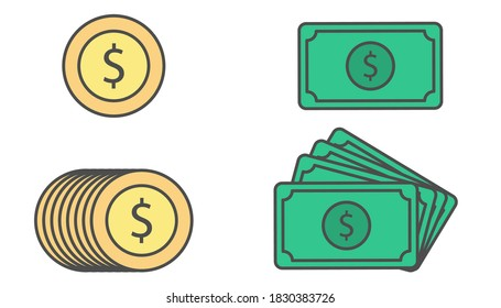 Dollar sign with coin. Isolated cash illustration in flat design. Cartoon money icons in yellow and green. Vector EPS 10