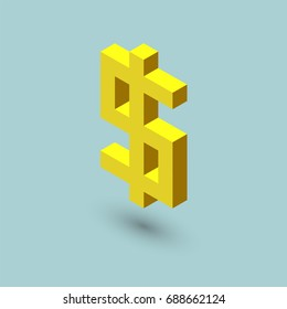 Dollar sign cubes form, isometric US currency icon, vector illustration