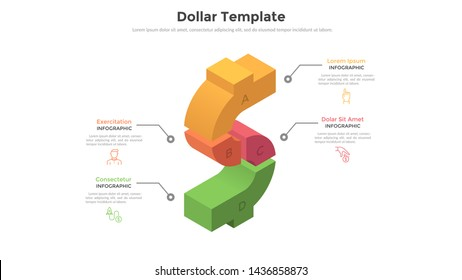 Dollar sign divided into 4 colorful parts. Concept of four options of money spending and investment. Modern infographic design template. Volumetric vector illustration for financial report, brochure.