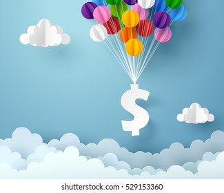 Dollar sign hanging with colorful balloon, business and finance concept and paper art idea, vector art and illustration.
