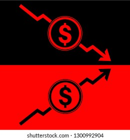 Dollar sign icon and incremental and declination arrow for business,  investment, salary, income, revenue, profit, cost, ebitda, patami, stock market and wealth