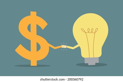 dollar sign and light bulb two fists punching each other cooperation concept