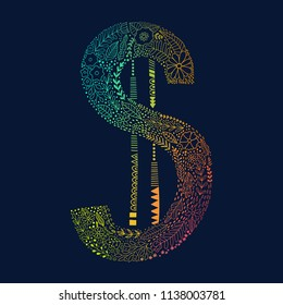 Dollar sign made of doodle flowers and leaf. Money symbol, organic hand drawing dollar