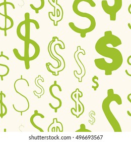 Dollar sign seamless pattern. Business, career or pesonal grow repeatable vector pettern.