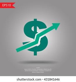 Dollar up sign vector