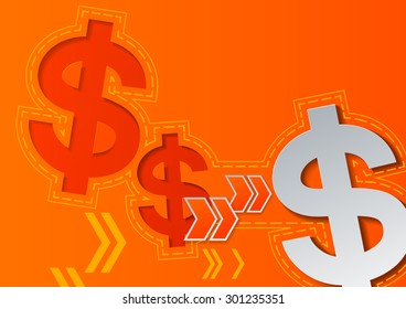 Dollar Signs and Arrows on Orange Background, Vector Illustration