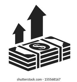 dollar stack black icon. money growth concept vector illustration