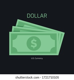 Dollar Stack Paper Banknotes. U.S currency money symbols. Flat dollar money sign illustration. Green color vector dollar design.