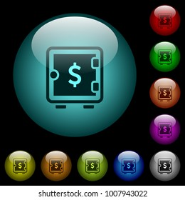 Dollar strong box icons in color illuminated spherical glass buttons on black background. Can be used to black or dark templates
