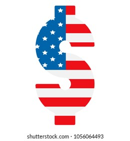 dollar symbol with the background of USA flag