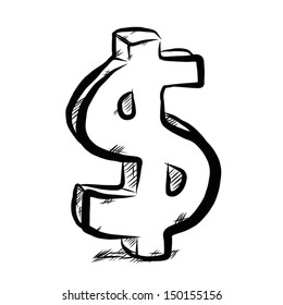 dollar symbol  / cartoon vector and illustration, hand drawn, sketch style, isolated on white background.
