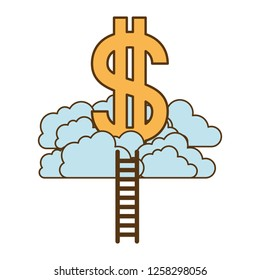 dollar symbol with clouds and stairs