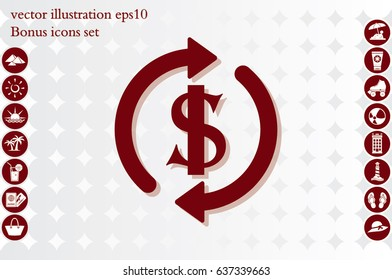 Dollar symbol with rotation arrows icon vector EPS 10, abstract sign circular motion process flat design,  illustration modern isolated badge for infographic, website or app.