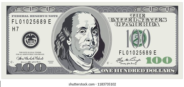 Dollar vector. One hundred dollars, detailed dollar banknote. Vector Illustration