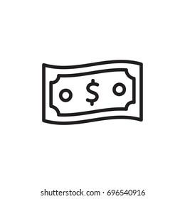 dollar walve bill line icon