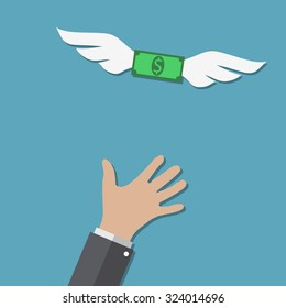 Dollar with wings flying away from buisness man hand at blue backgound in flat design. Idea for web design, promotion banners, infographic templates. Vector Illustration