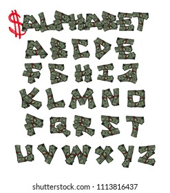 Dollars Alphabet - isolated vector font