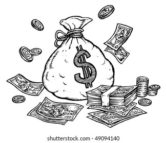 Dollars Bag. Banknotes and Coins.