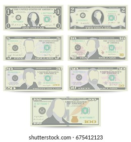 Dollars Banknote Set Vector. Cartoon US Currency Dollar. 10, 20 Front Side Of American Money Bill Isolated Illustration. Cash Dollar Symbol. Every Denomination Of US Currency Note.