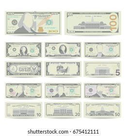 Dollars Bill Banknote Set Vector. Cartoon 100 US Currency. Two Sides Of American Money Bill Isolated Illustration. Dollar Cash Dollar Symbol. Every Denomination Of US Currency Note.