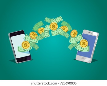 Dollars and coins money currency send from one smartphone to another. Online transaction concept. Vector flat cartoon illustration