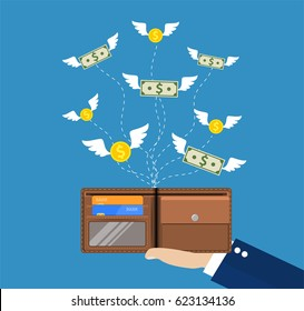 Dollars and coins with wings flying away from hand with wallet. Losing money, overspending, bankruptcy. illustration in flat style