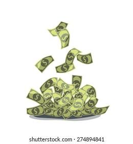dollars fall in a heap