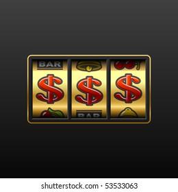 Dollars on slot machine. Vector.
