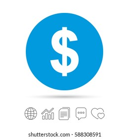 Dollars sign icon. USD currency symbol. Money label. Copy files, chat speech bubble and chart web icons. Vector